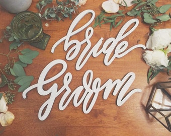 Bride and Groom Chair Backs - Lettersstou - Modern Design - Wedding Chair Signs - Wedding Gift - Made of wood - Ships anywhere in the USA