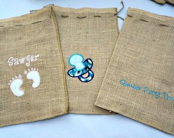Gift bags, embroidered gift bags, personalized gift bags, party favor bags, burlap favor bag, gift treat bag, seasonal