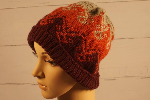 beanie knit hat knit cap wool hat hand knit hat knitted  c1e87e82783b