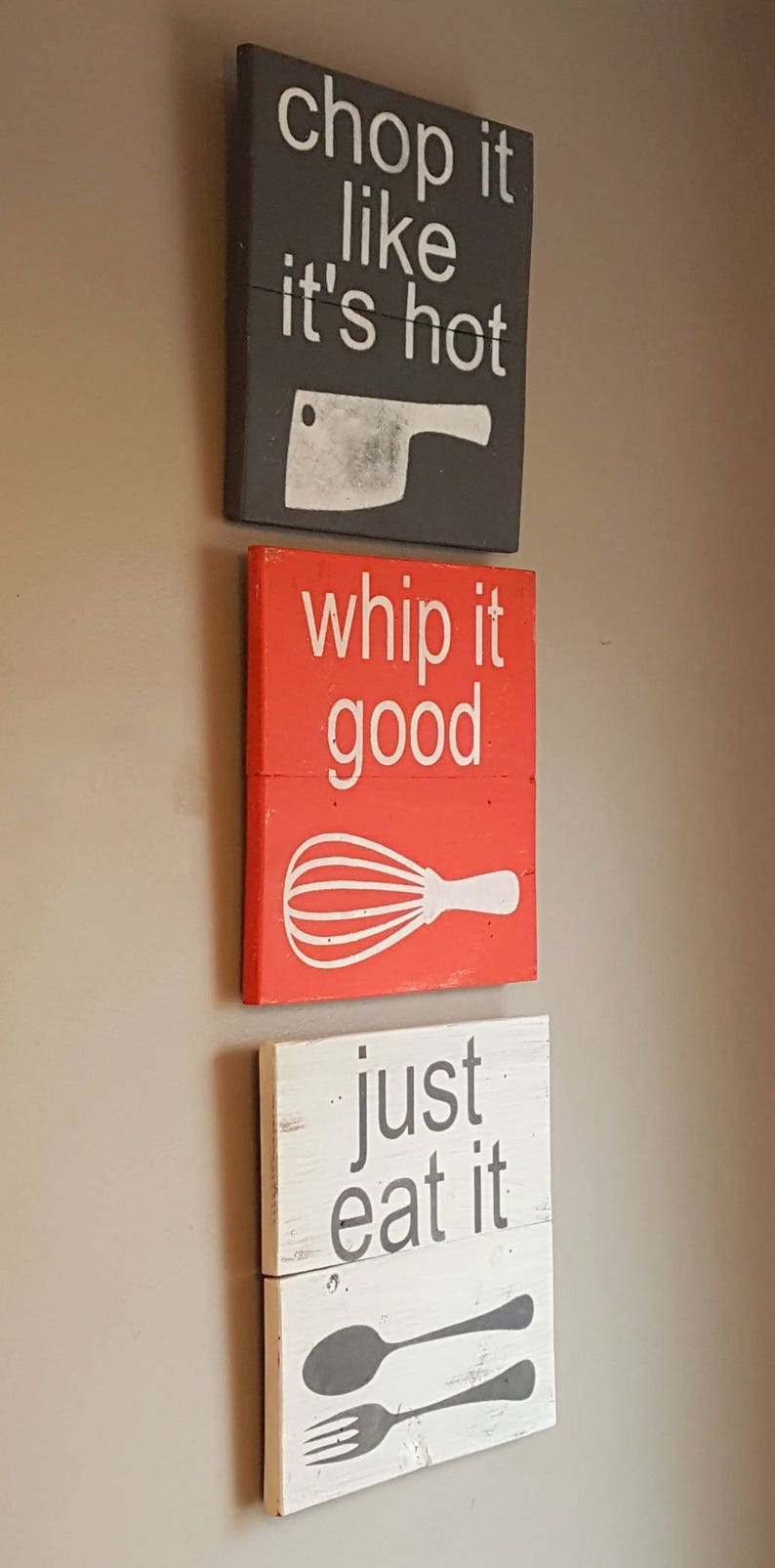 Just eat it reclaimed wood sign, kitchen decor, Gift for a chef, Man cave  decor, kitchen decor, house warming gift