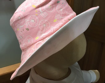 09ac5ea1 Adult Reversible Fabric Sunhat. Pink and White. Bicycle Print. Washable,  Crushable, Packable. Sun Protection, Gardening, Hiking, Beach.