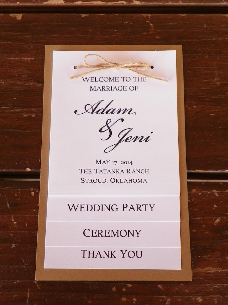 tiered wedding program wedding party thank you card rustic