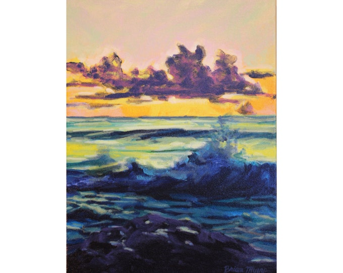WAVES AT SUNSET, Original Acrylic Painting on Canvas, Giclee Print on Paper, or Gallery Wrap Giclee Print on Canvas.