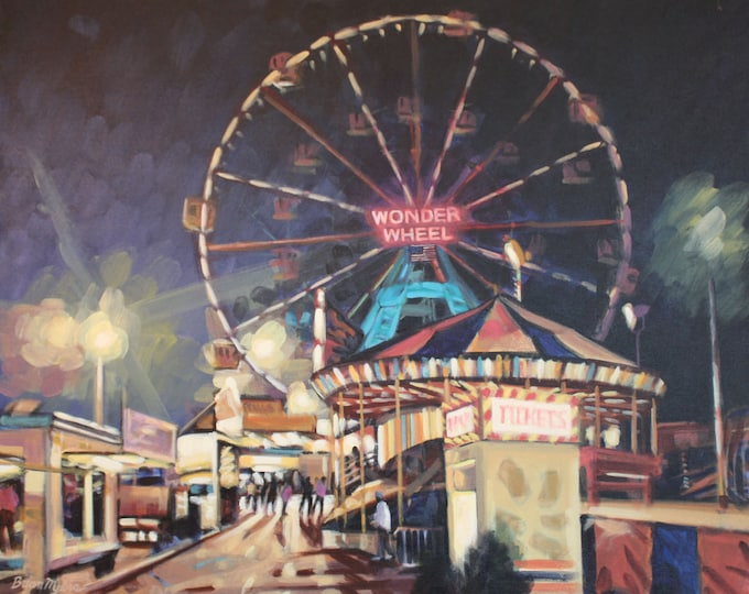 WONDER WHEEL, Giclee Print on Paper, or Gallery Wrap Giclee Print on Canvas.