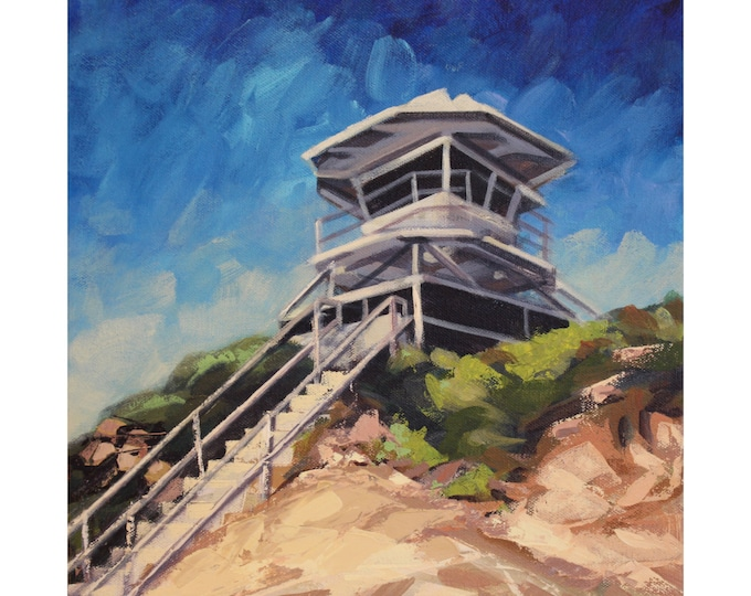 La Jolla Guard Tower, Original Acrylic Painting on Canvas, Giclee Print on Paper, or Gallery Wrap Giclee Print on Canvas.