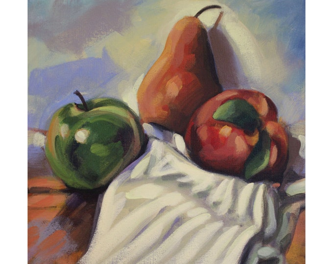 APPLE, PEAR & PEACH, Original Acrylic Painting on Canvas, Giclee Print on Paper, or Gallery Wrap Giclee Print on Canvas.
