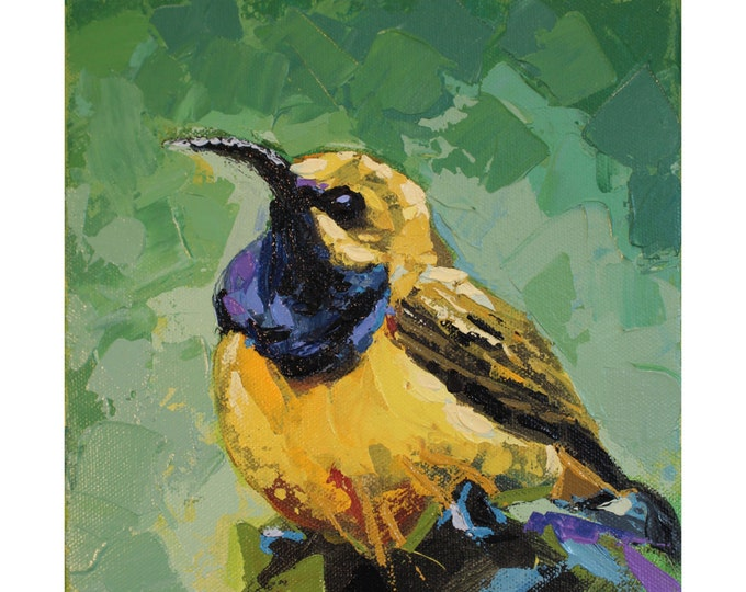 OLIVE BACKED SUNBIRD, Original Acrylic Painting on Canvas, Giclee Print on Paper, or Gallery Wrap Giclee Print on Canvas.