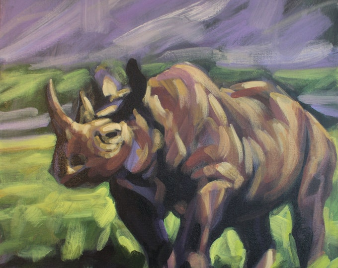 RHINO, Original Acrylic Painting on Canvas, Giclee Print on Paper, or Gallery Wrap Giclee Print on Canvas.