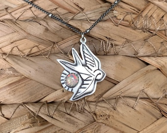 Tiny Sterling silver sparrow necklace