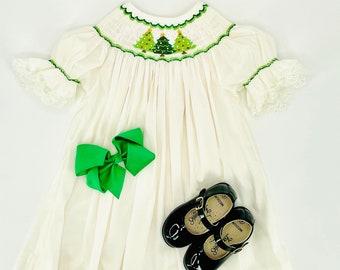 Smocked Christmas Tree Dress on Heirloom Ivory