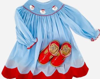 Santa Smocked Light Blue Long Sleeve Bishop Dress
