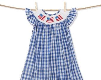 3ab04b4d960 Flag Gingham Smocked Bishop Dress