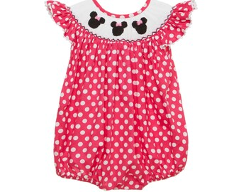 66d9ed2ce73 Smocked Pink bubble romper with mouse ears!