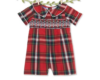 d30666016 Smocked Christmas plaid shortall - jon jon