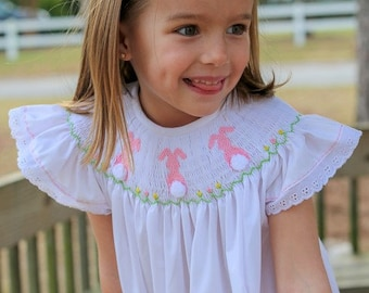 d5d2c60c4e Smocked Easter bishop dress in white with pink bunnies