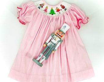 Nutcracker Christmas Smocked Dress
