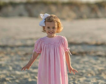 Smocked Bishop Dress in pink with Ribbons on the Sleeves