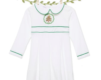 Embroidered Christmas tree Dress in soft cotton knit!