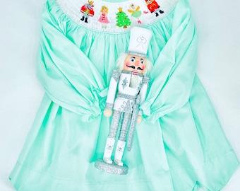 Nutcracker Christmas Short Scalloped Smocked Dress