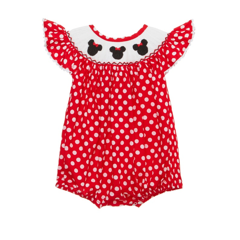 5170ec07adb Mouse Ears Smocked Red Romper
