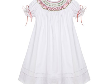 Christmas smocked Bishop Dress Classic red and green with Ribbons