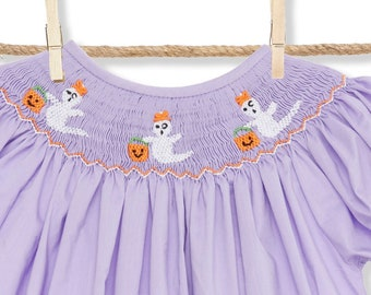 Smocked Halloween Ghost bishop dress