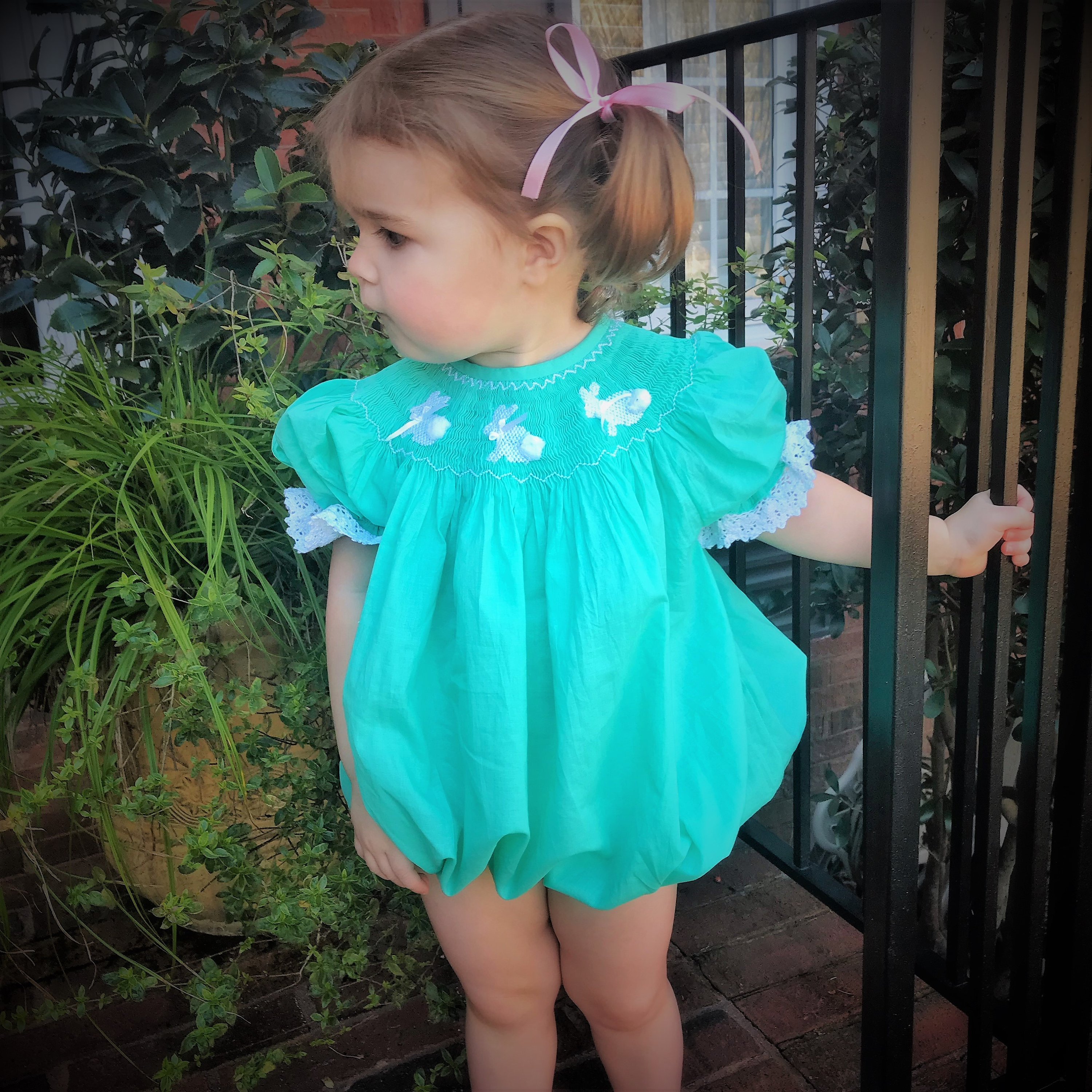 13d9557fd28 Easter Bunny Smocked bubble Romper in teal
