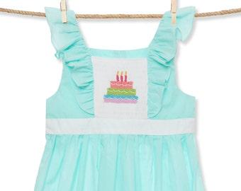 Birthday Cake Smocked Flutter Sleeve Dress