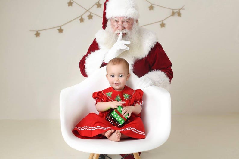 Smocked Christmas Tree Dress in red. Matching brother outfits image 1