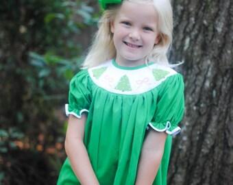 Smocked Christmas tree & bow bishop Dress