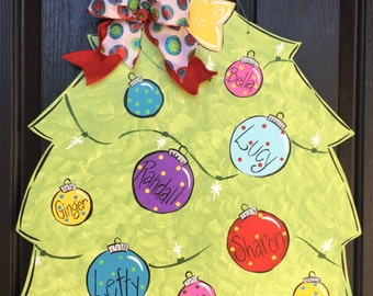 Personalized Christmas Tree Door Sign