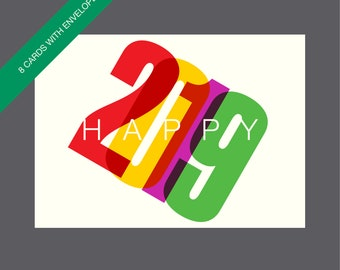 boxed new year cards unique new year cards happy 2019 cards happy new year cards 2019 cards modern new year cards typographic cards