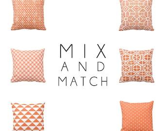 Throw Pillow Cover Decorative Pillows for Sofa Geometric Pillow Orange Pillow Cover Orange Sham 20x20 Pillow 18x18 Pillows