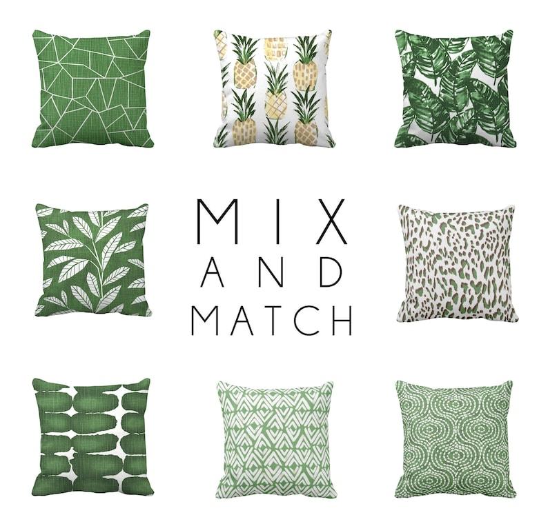 Green Throw Pillows for Couch Pillows, Banana Leaf Pillows, Leopard Print,  Tropical Decor