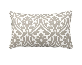 Taupe Throw Pillow Cover Taupe Pillow Covers Damask Pillows Beige Pillows Taupe Lumbar Pillow Decorative Pillows Taupe Decor Brown Pillows