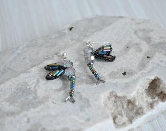Dragonfly Post Earrings - Handmade Dragonfly Wings - Beaded Earrings