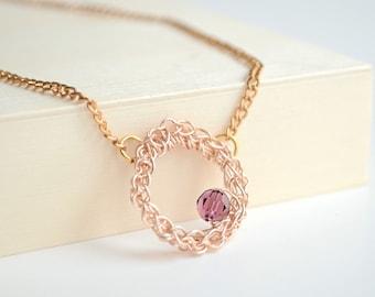 Amethyst Swarovski Crystal Necklace, Purple Crystal Pendant, Circle Pendant, Circle Necklace for Mom, Eternity Collection,
