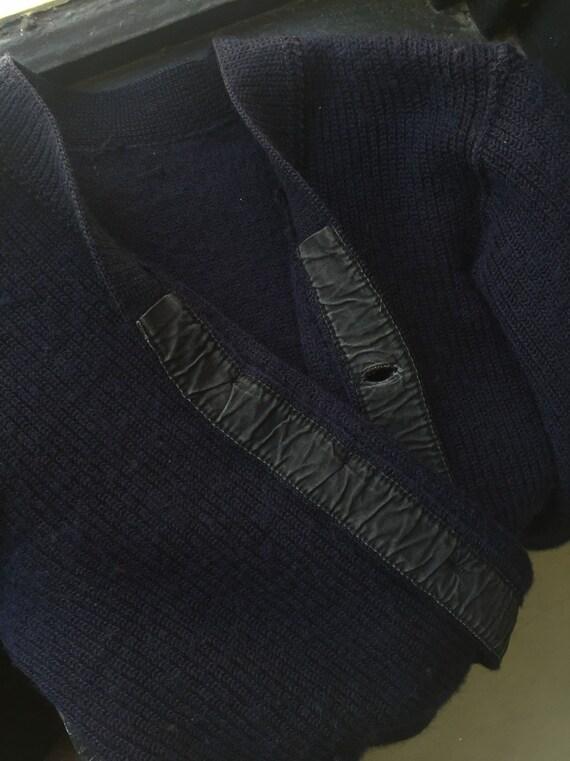 Navy wool handmade cardigan 1930's/40's - image 4