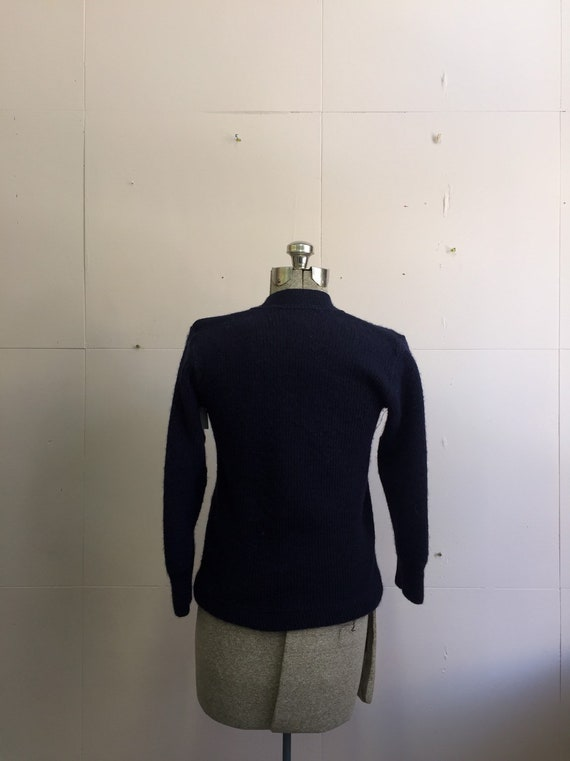 Navy wool handmade cardigan 1930's/40's - image 2