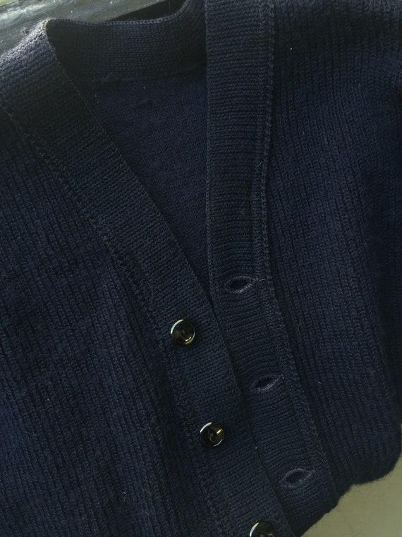 Navy wool handmade cardigan 1930's/40's - image 3