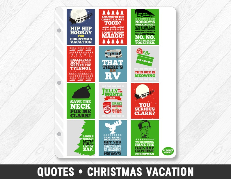 Quotes From Christmas Vacation.Quotes Christmas Vacation Full Box Planner Stickers