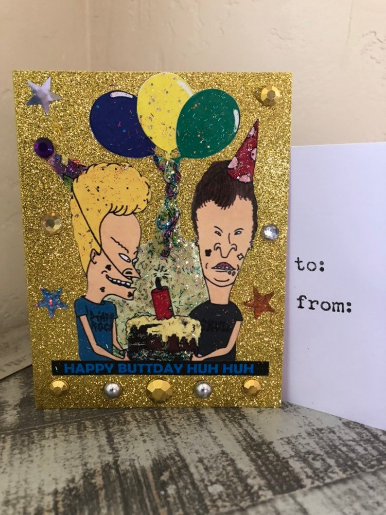 Beavis and Butthead Birthday Glitter Card
