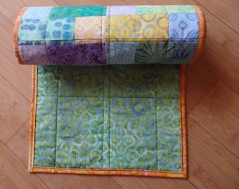 Table Runner Reversible Kitchen Decor Wall Hanging Batik Handmade Geometric Green Orange Yellow Purple