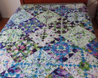 Queen Size Quilt, Stars, Diamonds, Botanical Leaves, Tropical Plants, Blue, Green, Purple, Handmade