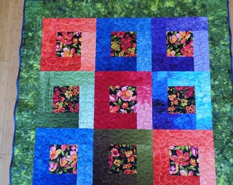 Handmade Quilt, Wall Hanging, Original Design, Floral, Table Topper, Small Lap Quilt, Ombre Fabric, Flowers, FREE SHIPPING