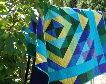 Art Quilt Wall Hanging Tablecloth Geometric Diamond Lap Quilt Solid Fabrics Couch Throw Blue Yellow Green FREE SHIPPING