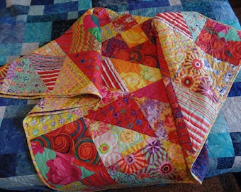 Lap Quilt, Kaffe Fassett, Throw, Tablecloth, Wall hanging, Bright Colors, Handmade Quilt, FREE SHIPPING