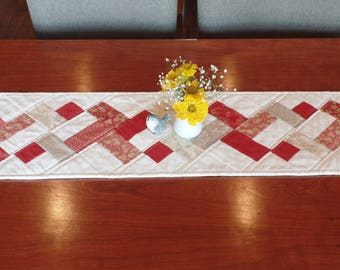 Table Runner, Table Topper, Quilt, Kitchen Home Decor, Red, Tan, White, French General Fabric, Handmade