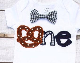 Boy first birthday onesie pretzel 1st birthday navy gingham bow tie  cake smash outfit Boy first birthday Boy number 1 puppy dog first bday