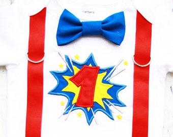 Baby boy first birthday Super Hero Bow tie and Suspenders set Boy Cake Smash Boy first year outfit Boy number 1, Boy birthday, Boy Second